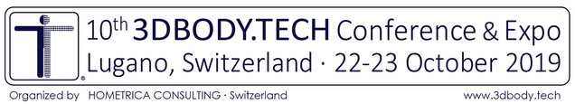 3DBODY.TECH 2019 - 10th International Conference on 3D Body Scanning and Processing Technologies, 22-23 October 2019, Lugano, Switzerland, Organized by Hometrica Consulting - Dr. Nicola D'Apuzzo, Switzerland